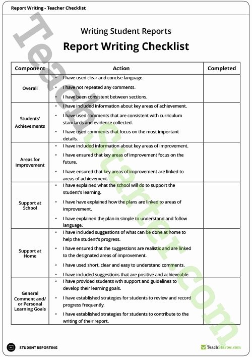 Evaluation Letter Sample for Student Luxury Teacher Report Writing Checklist Teaching Resource