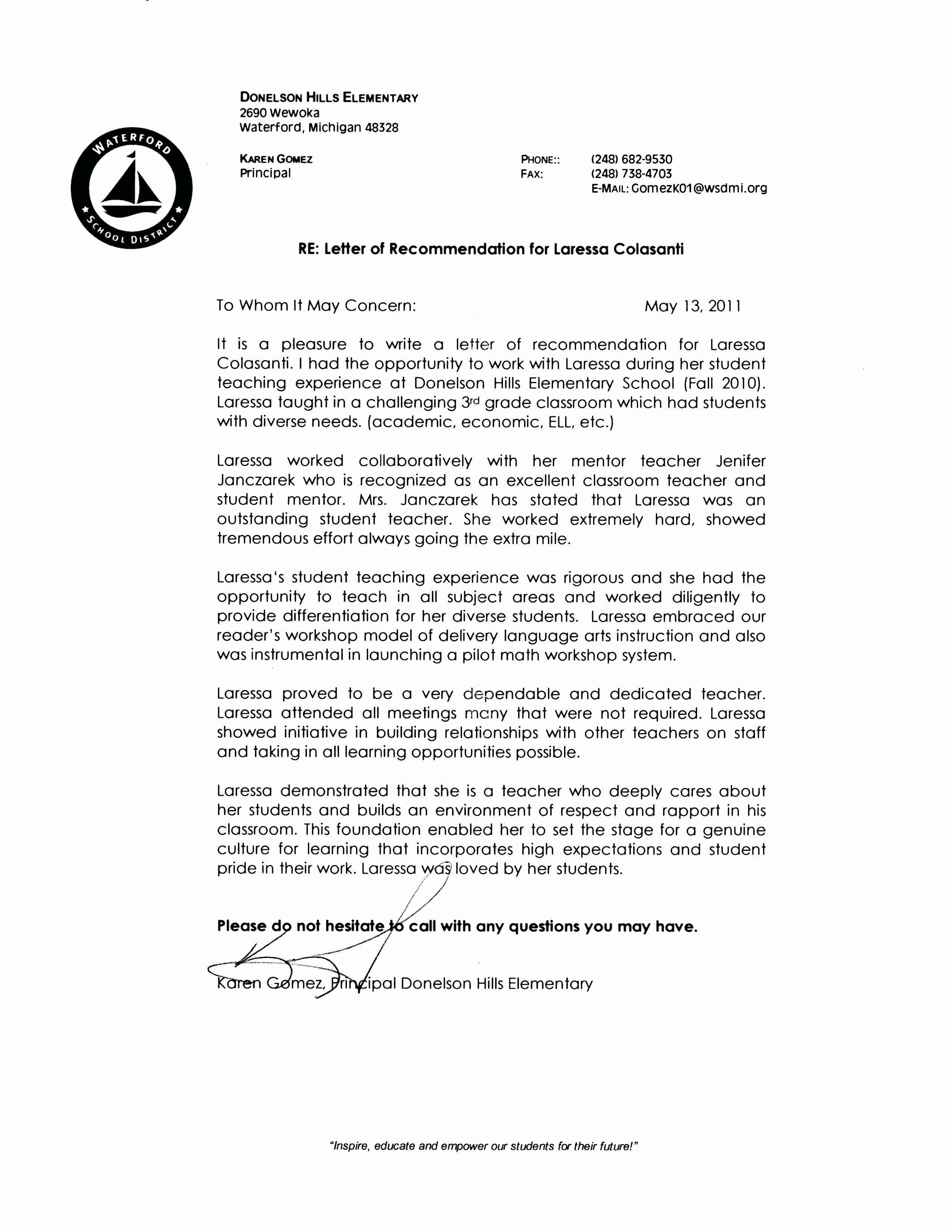 Evaluation Letter Sample for Student New 4 5 Leave Of Absence Letter