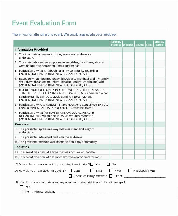 Event Feedback form Template Best Of 10 Evaluation Sheet Templates Free Sample Example format