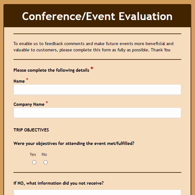 Event Feedback form Template Best Of formwize Examples