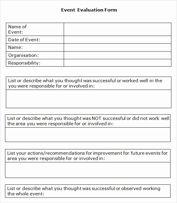Event Feedback form Template Fresh event Evaluation form 9 Download Free Documents In Pdf