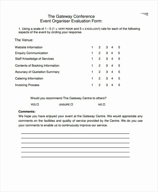 Event Feedback form Template Inspirational 30 event Evaluation form Templates