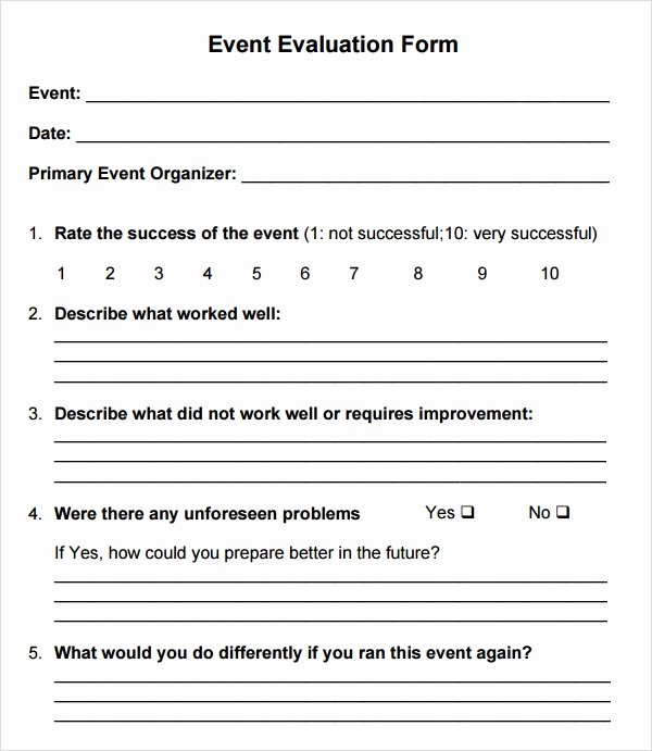 Event Feedback form Template Inspirational event Evaluation form 7 Free Download for Word Pdf