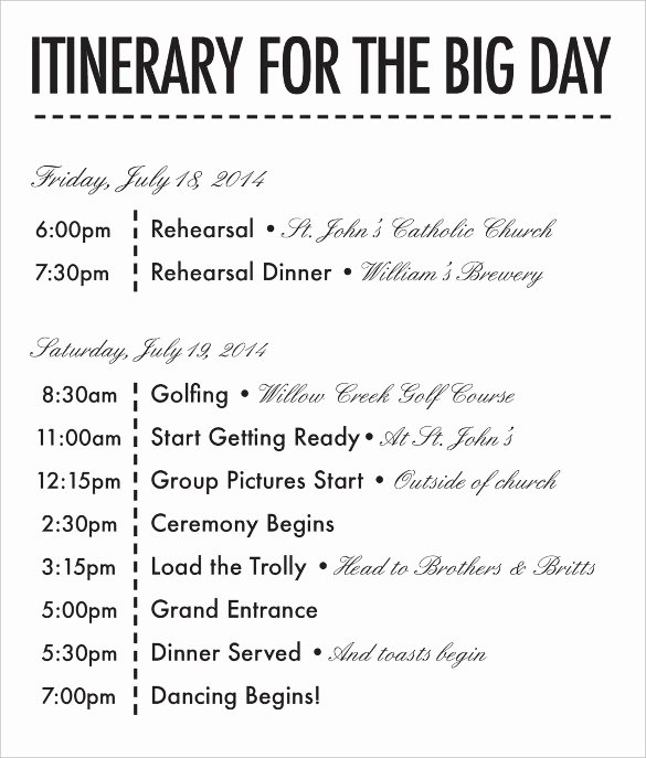 Event Itinerary Template Best Of Bachelorette Itinerary Template