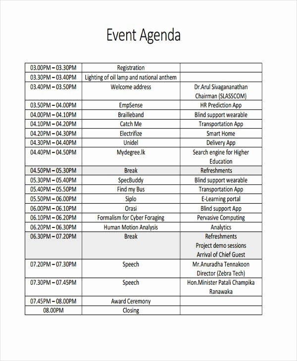 Event Itinerary Template Elegant 26 Agenda format Templates