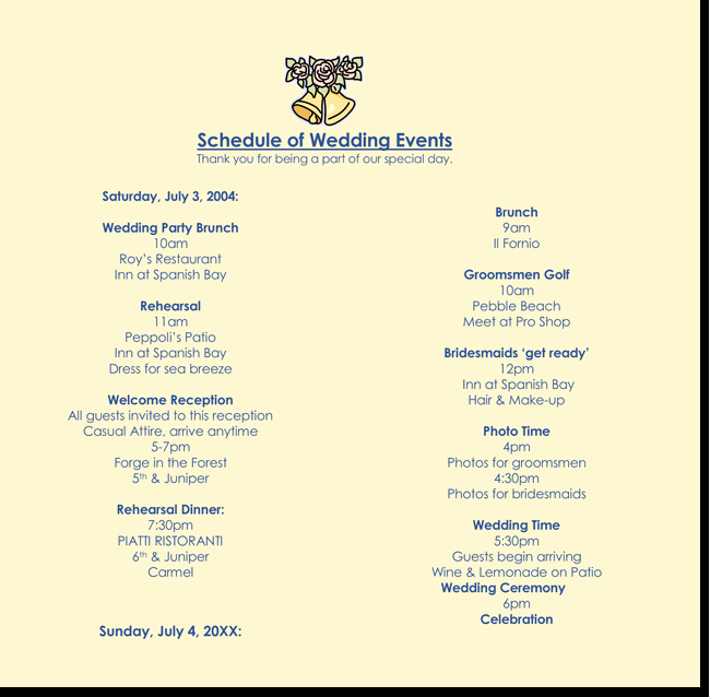 Event Itinerary Template Elegant 8 Free Wedding Itinerary Templates and Schedule Templates