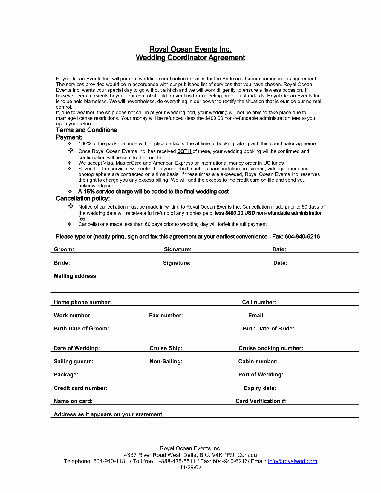 Event Planning Contract Template Free Beautiful Wedding Planner Contract Cover Letter