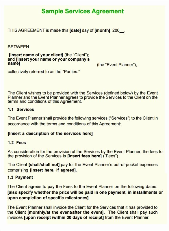 Event Planning Contract Template Free Fresh 12 Service Contract Templates Pdf Doc