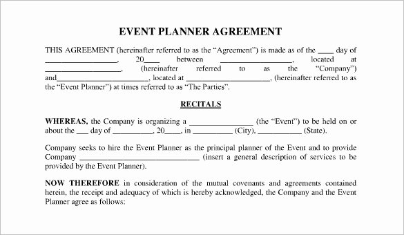 Event Planning Contract Template Free Fresh Free event Planner Contract Template