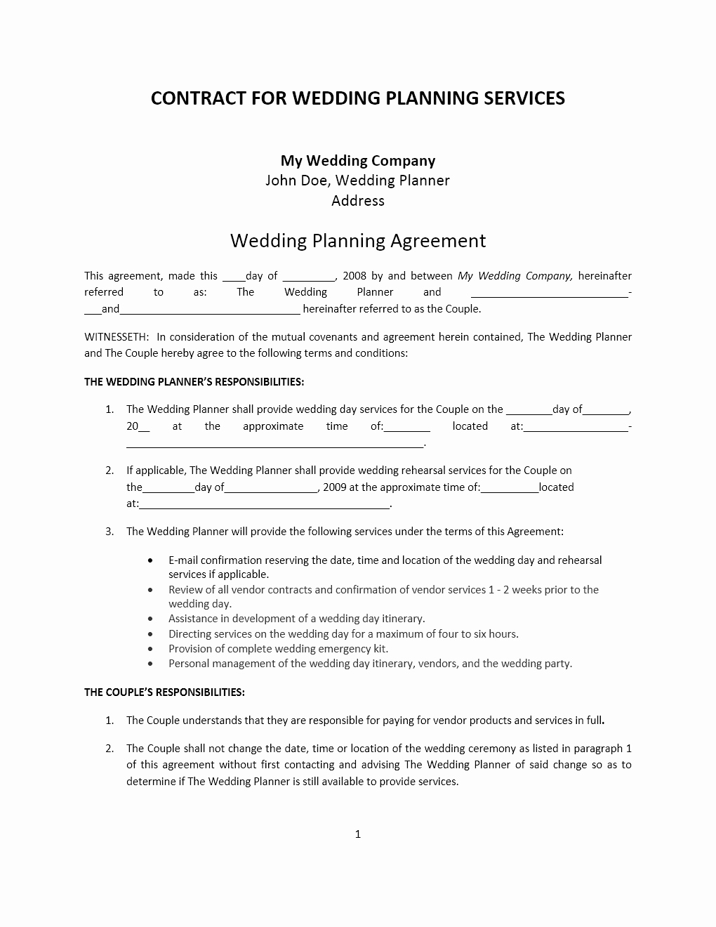 Event Planning Contract Template Free Fresh Wedding Planner Contract Template
