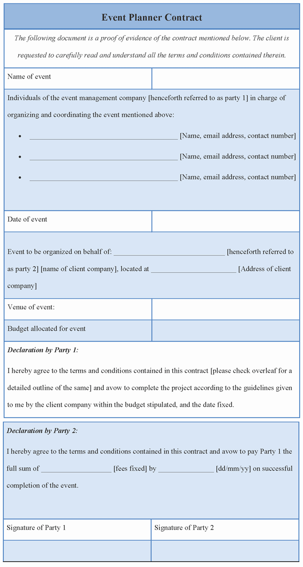 Event Planning Contract Template Free Lovely Contract Template for event Planner format Of event