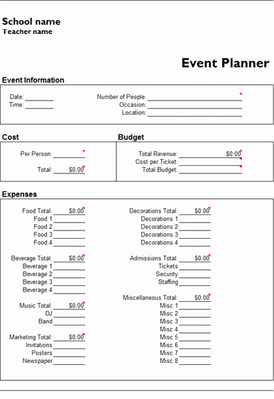 Event Planning Contract Template Free Unique Ms Excel event Planner Template