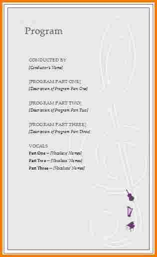 Event Program Template Word Elegant event Program Template