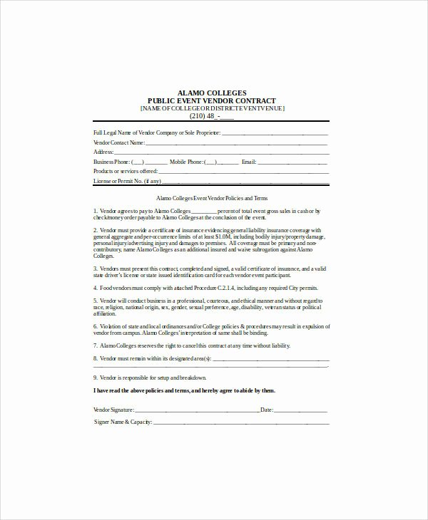 Event Vendor Contract Template Awesome 30 Sample Contract Agreements