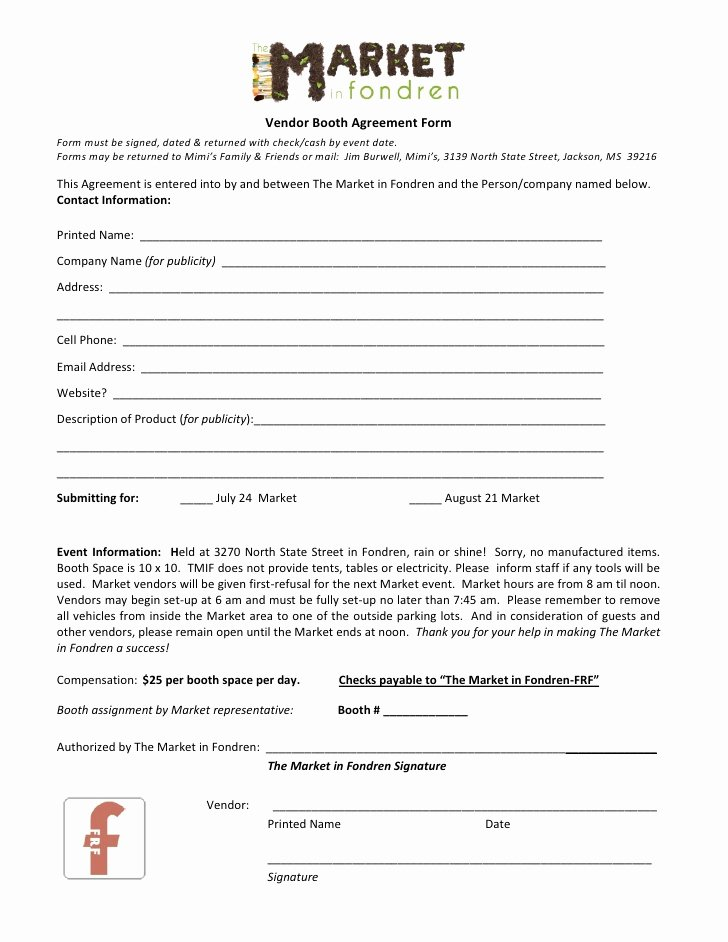 Event Vendor Contract Template Lovely the Market In Fondren Vendor Agreement form