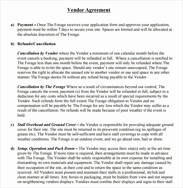 Event Vendor Contract Template New Sample Vendor Contract Template 9 Free Samples