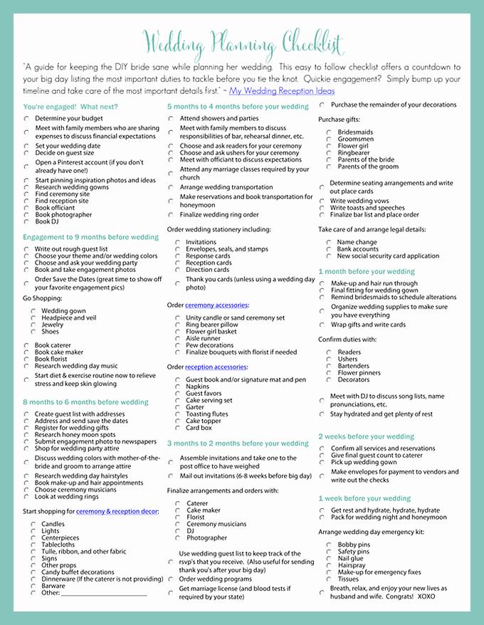 Event Venue Checklist Template Fresh Printable Wedding Planning Checklist for Diy Brides