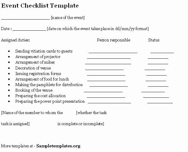 Event Venue Checklist Template New event Template for Checklist Template Of event Checklist