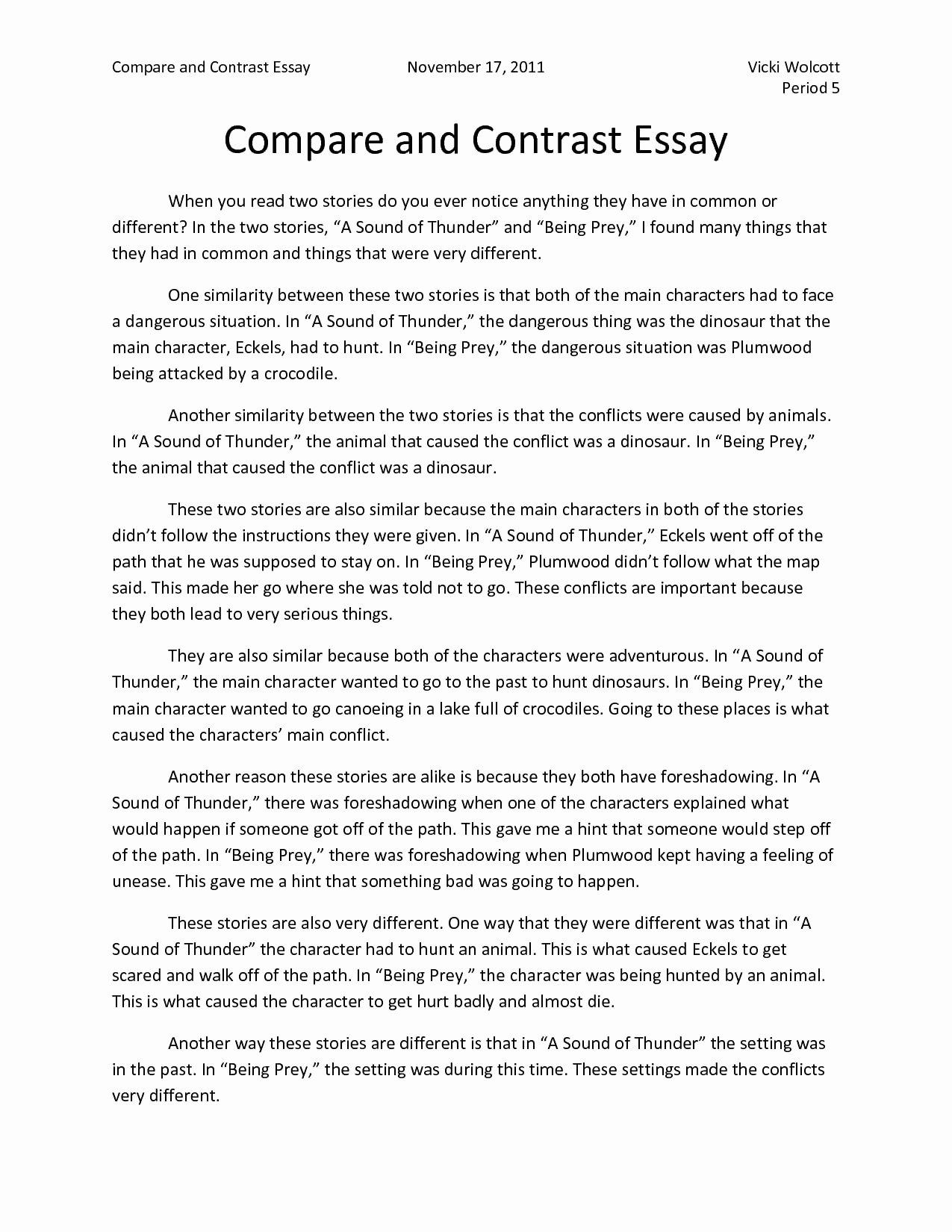 Example Illustration Essay On Parents Unique Pare and Contrast Essay