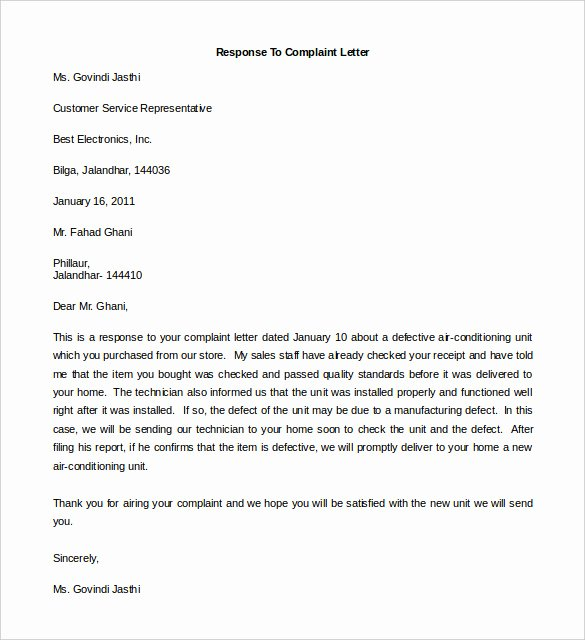 Example Of Answer to Complaint Fresh 29 Free Plaint Letter Templates Pdf Doc
