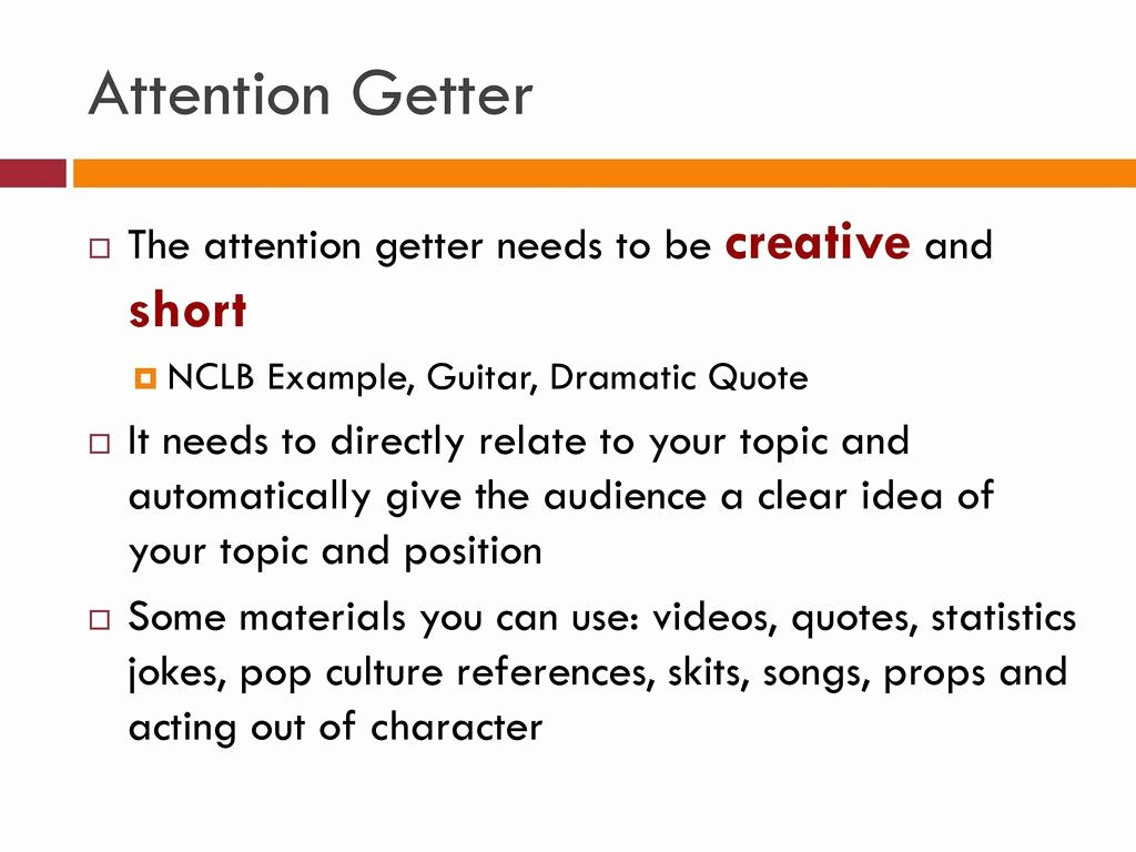 Example Of attention Getter New Outline Every Speech Will Be Written In An Outline format