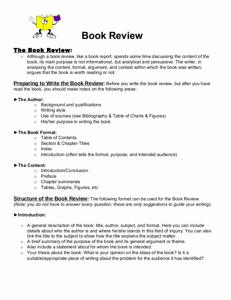 Example Of Book Analysis Awesome Book Review format 1