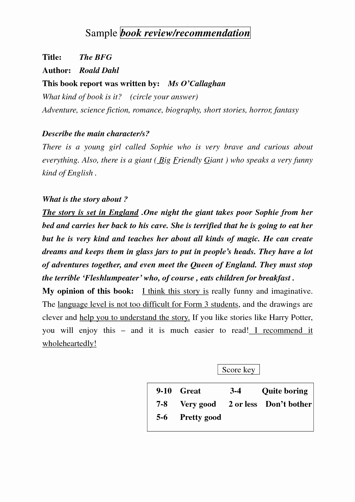 Example Of Book Analysis Fresh Bfg Book Summary Book Reports
