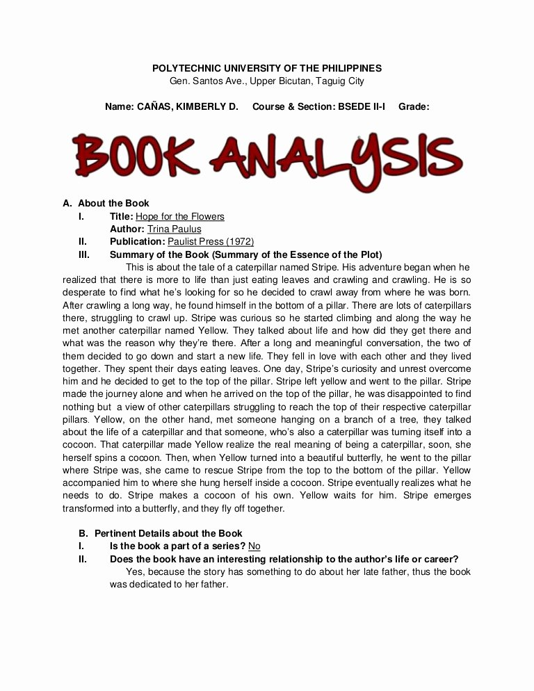 Example Of Book Analysis Luxury Hope for the Flowers Book Analysis