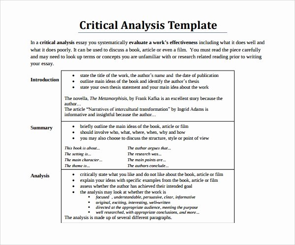 Example Of Book Analysis Luxury Sample Critical Analysis Template 10 Free Documents In Pdf