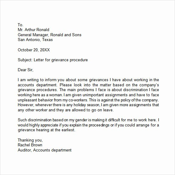 Example Of Grievance Letter Inspirational 14 Sample Grievance Letters Pdf Word
