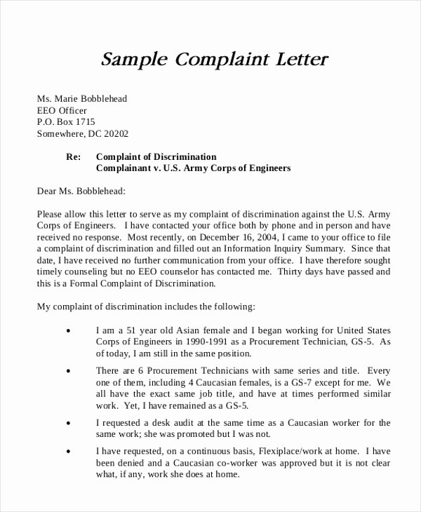 Example Of Grievance Letter New Sample formal Plaint Letter 12 Examples In Word Pdf