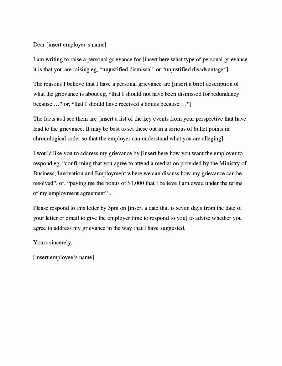 Example Of Grievance Letter Unique 37 Editable Grievance Letters Tips & Free Samples