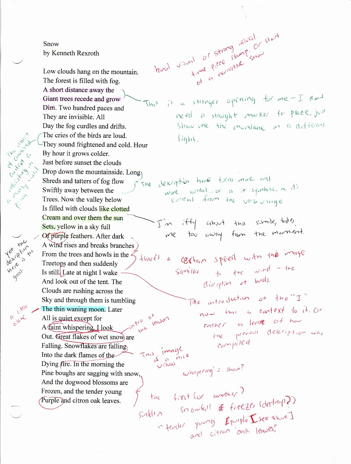 """Example Of Poem Analysis Beautiful A Retail Life after the Mfa Analysis Of """"snow"""" by"""