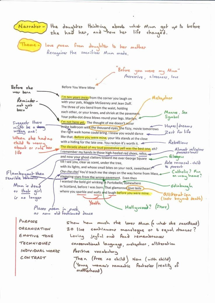 Example Of Poem Analysis Lovely X9poetry before You Were Mine Annotated Image