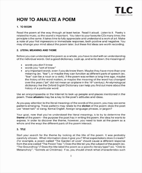 Example Of Poem Analysis Luxury 9 Poetry Analysis Templates Pdf