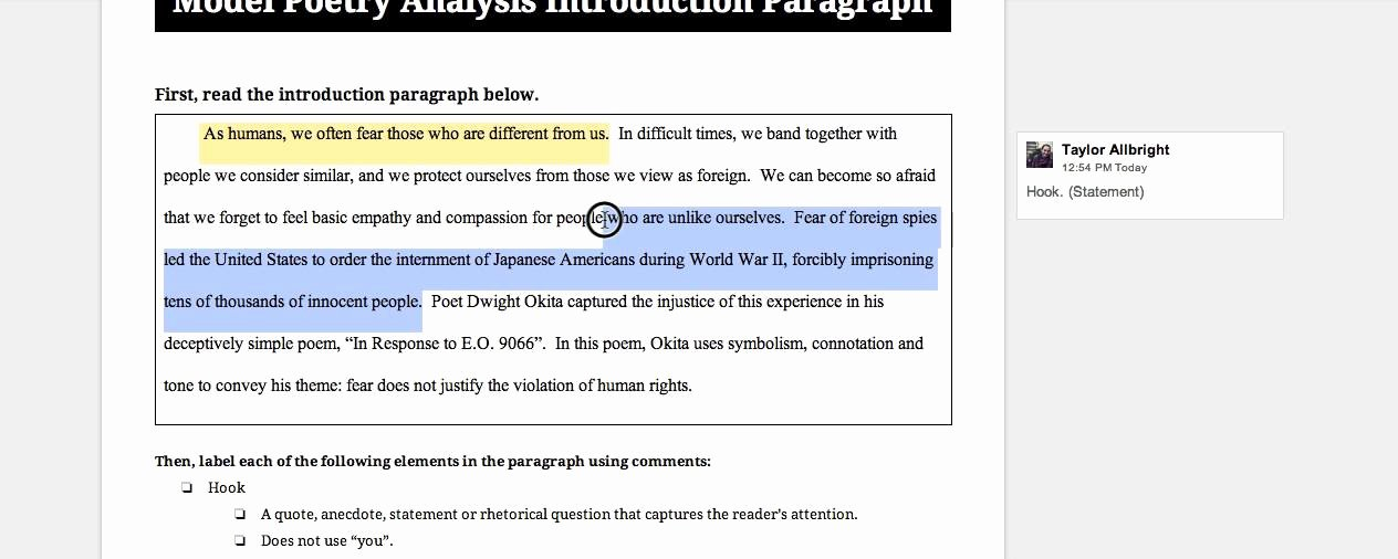 Example Of Poem Analysis Unique Poetry Analysis Essay Introduction Paragraph