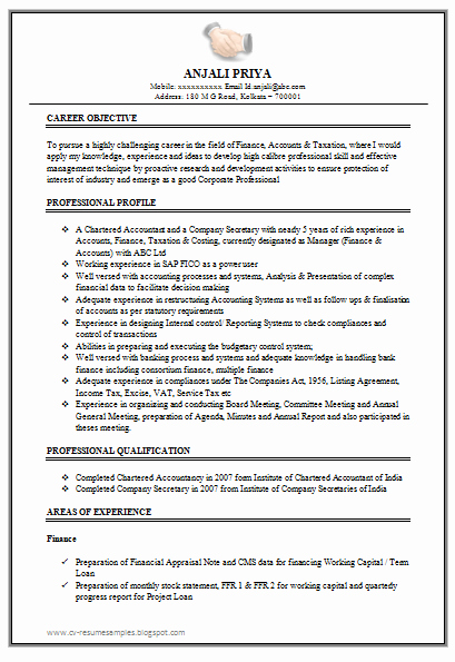 Examples Of Excellent Resumes Inspirational Excellent Work Experience Chartered Accountant Resume