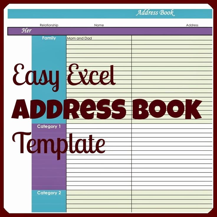 Excel Address Book Template Lovely Easy Excel Address Book Template