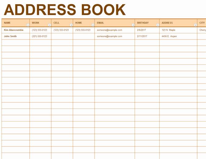 Excel Address Book Template Luxury Address Book