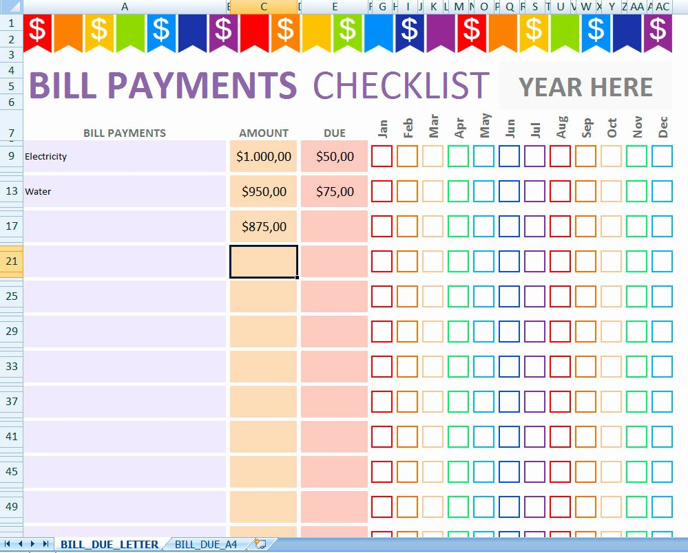 Excel Bill Tracker Beautiful Monthly Bill Payments Tracker Editable & Printable Excel