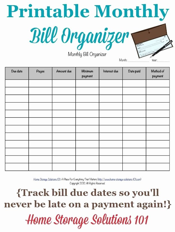 Excel Bill Tracker Fresh Printable Monthly Bill organizer to Make Sure You Pay