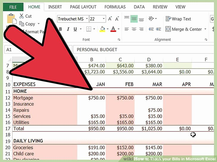 Excel Bill Tracker Lovely How to Track Your Bills In Microsoft Excel 13 Steps