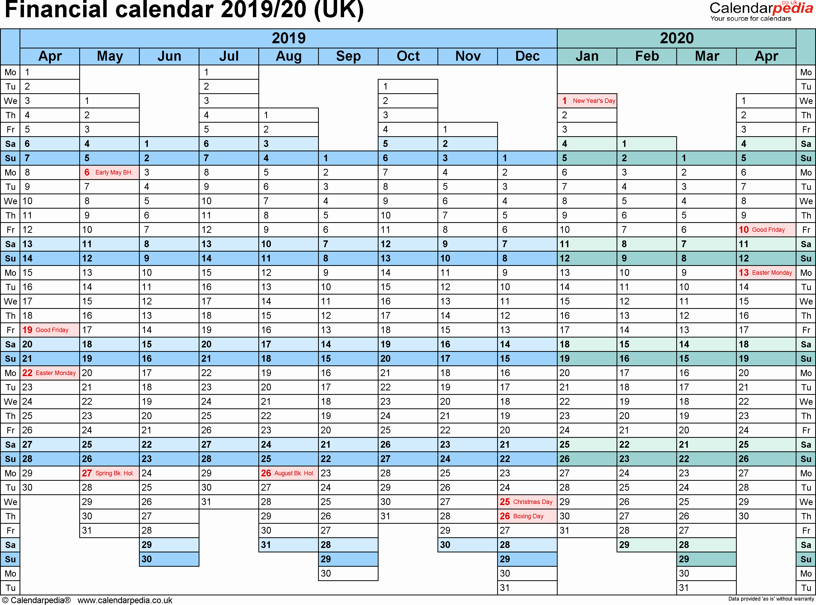 Excel Payroll Template 2019 Awesome Financial Calendars 2019 20 Uk In Microsoft Excel format