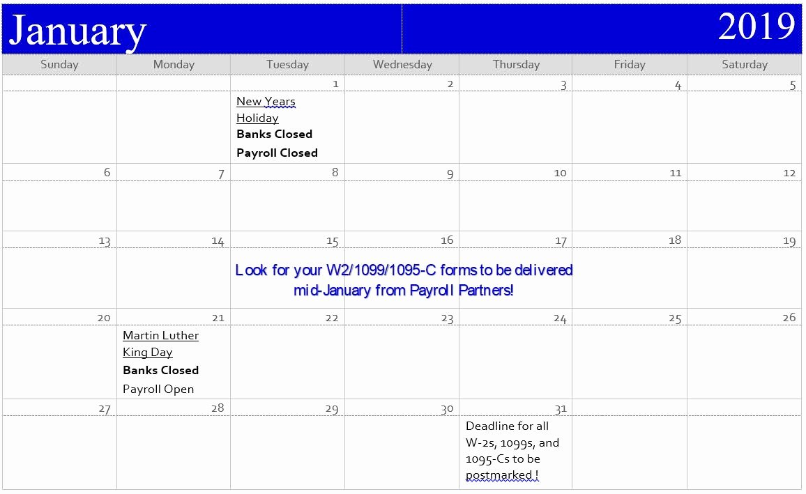 Excel Payroll Template 2019 Lovely 2019 Payroll Calendar Irs