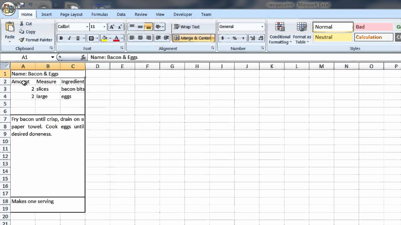 Excel Recipe Template Elegant How to Create A Recipe Template In Word & Excel Puter