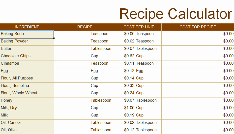 Excel Recipe Template Elegant Recipe Costing Template Numbers – Besto Blog