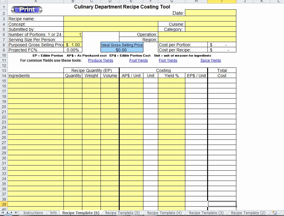 Excel Recipe Template Fresh Excel Recipe Template for Chefs Chefs Resources