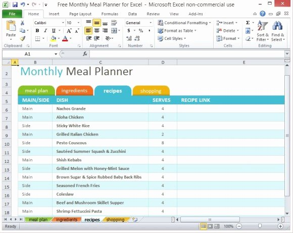 Excel Recipe Template Luxury Free Monthly Meal Planner for Excel