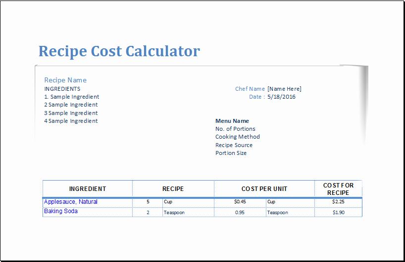 Excel Recipe Template Unique Recipe Cost Calculator Template for Excel