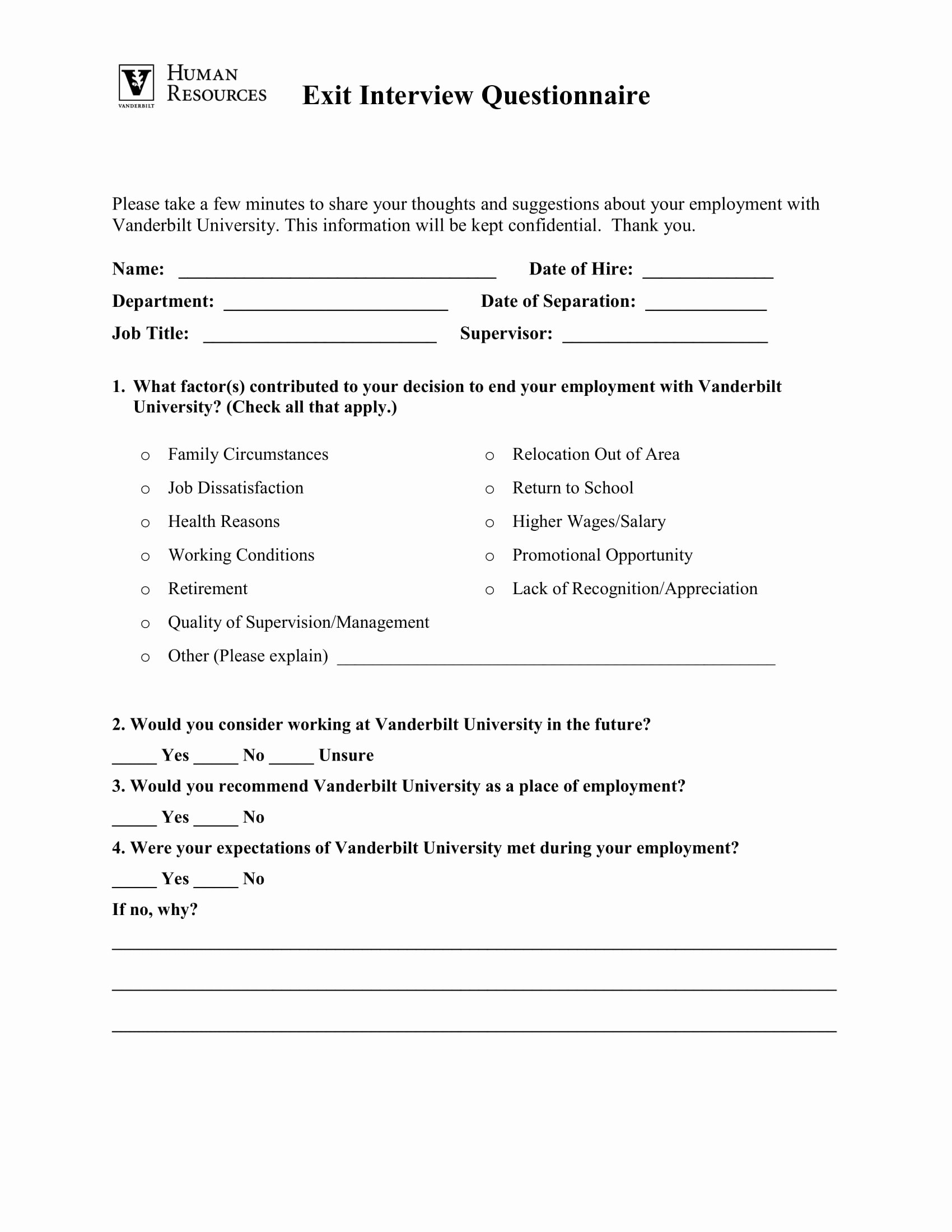 Exit Interview form Pdf Best Of 10 Employee Exit Questionnaire Examples Pdf